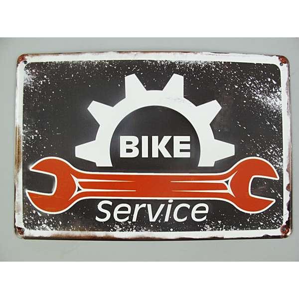 Blechschild Bike Service Türschild Werkstatt Wand Schild Metall Retro Nostalgie Blech