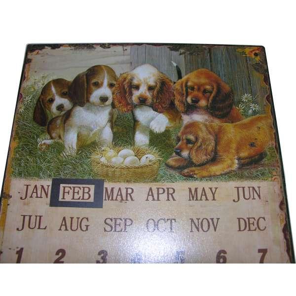 Nostalgisches Blechschild Dauerkalender Hunde Welpen Hundestube Kalender Metall