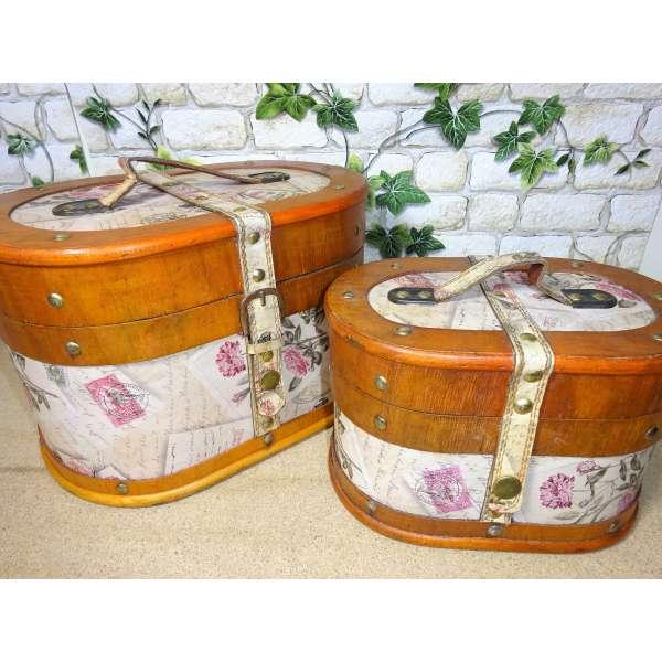 2er Set Koffer oval 21/28cm Blumen Rosen Holz Hutschachtel Antik Truhe Box