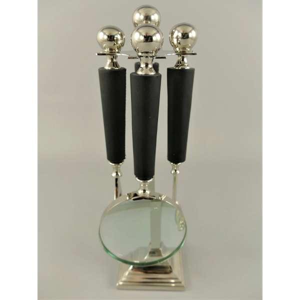 Schreibtischset Lupe Brieföffner Flaschenöffner Kerzenlöscher silberfarben 33cm