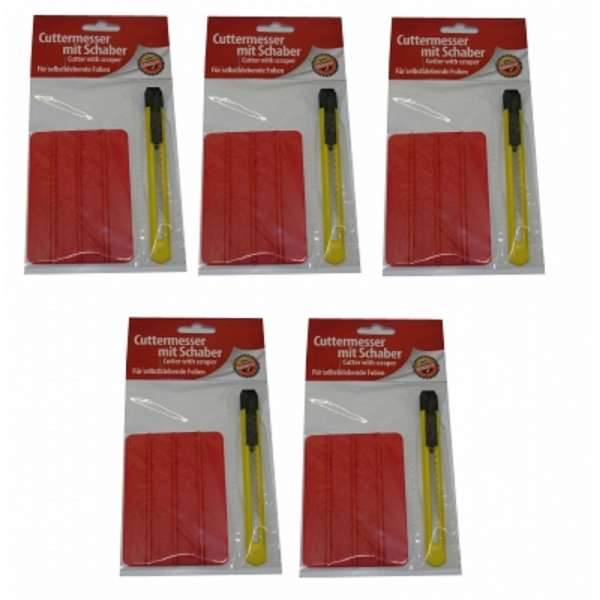 5x Cuttermesser Teppichmesser Universalmesser mit Abbrechklinge + Schaber im Set