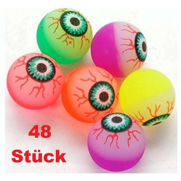 48x bunte Flummis Auge Augapfel Horror Gummiball Hüpfball Springball Flummi Mitgebsel Party