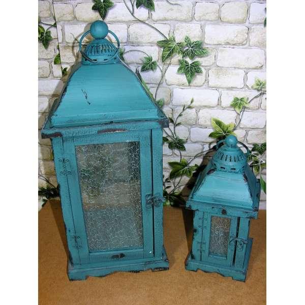 Holz-Laternen-Set 43+25 cm hoch Shabby Chic Türkis Grün Glas Vintage Landhaus Antik Stil