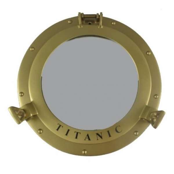 Bullauge Titanic Badezimmerspiegel Wandspiegel maritim Aluminium 29cm gold