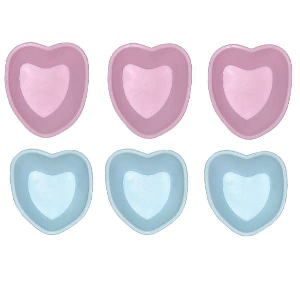 6er Set Mini Silikon Backform Herz pink blau Kuchenform Cupcake Form Muffin Kinder Party