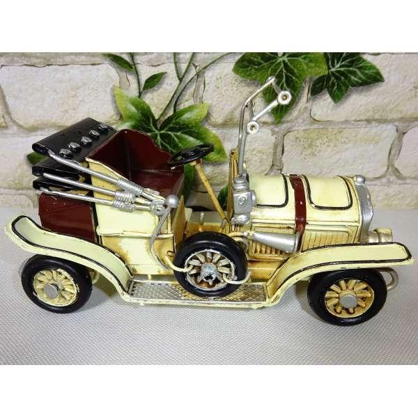 Modell Auto Oldtimer Cabrio mit Laterne beige 16cm aus Blech Metall Retro Stil Shabby