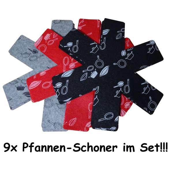 9x Pfannenschutz Pfannen Einlage Stapelschutz Kratzschutz Pfannenschoner rot schwarz grau