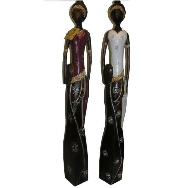 "2er Set Frauenfigur ""Kalahari"" je 100 cm 2 Farben Handarbeit Holz Afrika Statue,"