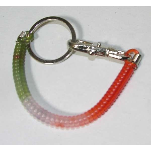 Schlüsselkette Schluesselanhänger Spirale 17cm rot weiß grün Karabiner + Ring