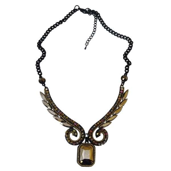 Vintage Halskette mit Kristall-Steinen und facettiertem Glas-Stein Steampunk