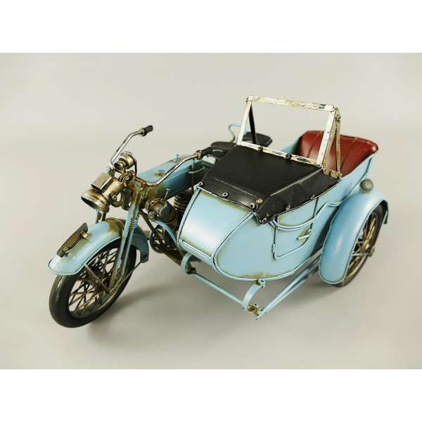 Großes Modell Motorrad mit Beiwagen 32x18 cm Fahrzeug Retro Antik Stil Oldtimer