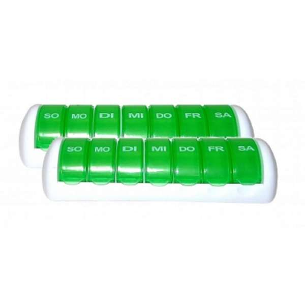 2x Tablettendose 7 Tage Pillenbox Pillendose Tablettenbox Spender Medikamenten-Box