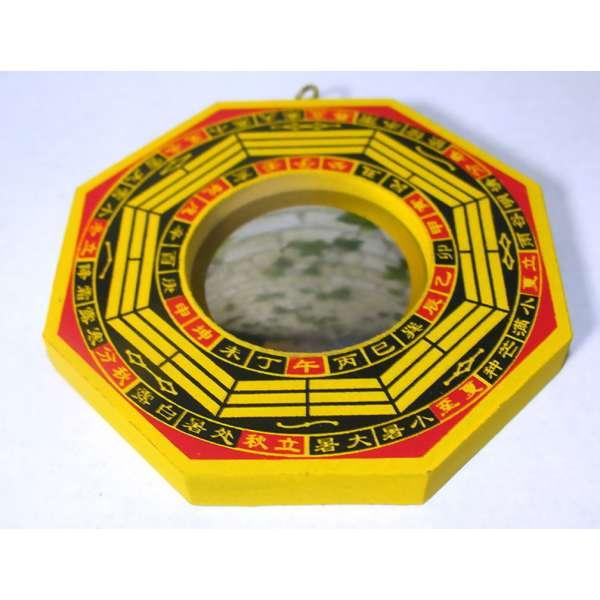 BaGua Spiegel konvex ca. 10,5cm Holz Feng Shui traditionelles Schutzschild China