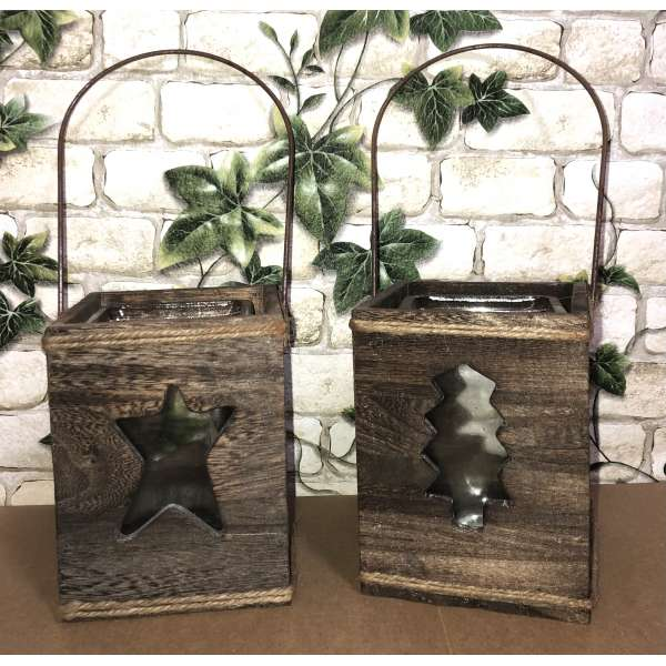 2er Set Windlicht Laterne Weihnachten Holz mit Glas Laternen Tannenbaum Stern