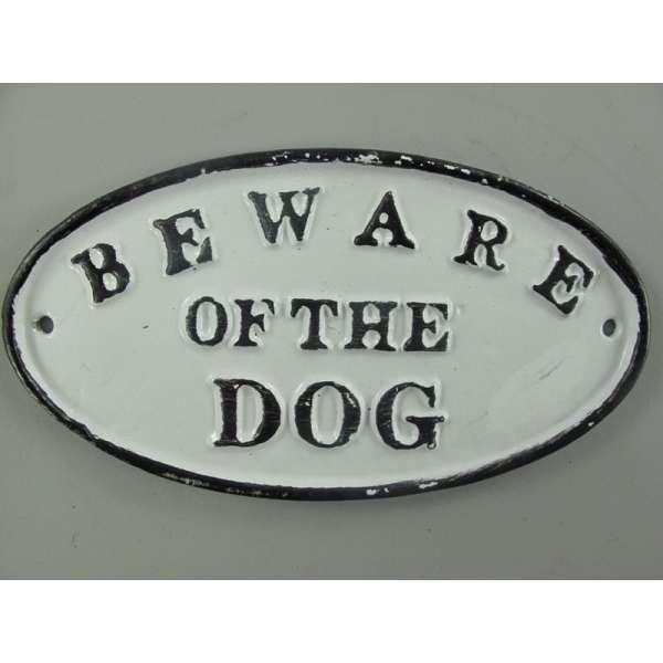 Nostalgie Türschild Eisen Emaille Beware of the Dog Gusseisen Hund Wand Schild