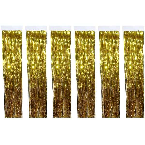 6x Lametta Glitzer Vorhang 50x40 Party Deko Fransenvorhang Weihnachten goldfarben