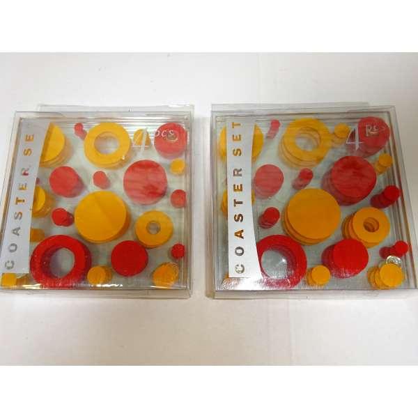 8er Set Glas-Untersetzer rot/orange Retro Look 70er Jahre Bierdeckel Glasuntersetzer