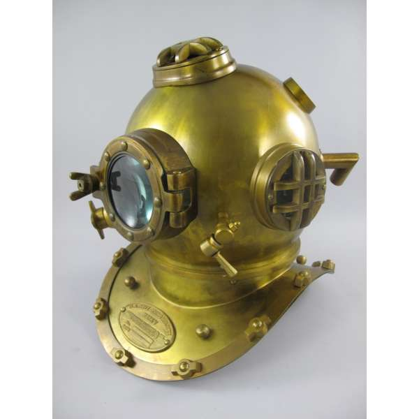 Taucherhelm XL Mark V Navy Diving Helmet 1897 Messing brüniert Retro Original-Gr.