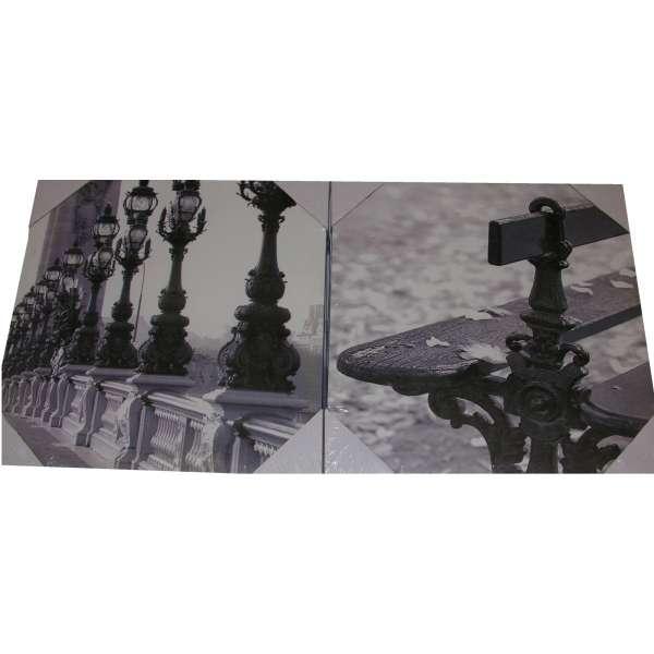 2er Set Kunstdruck Leinwand Bild Schwarz Weiß Brücken-Laternen und Parkbank 38cm