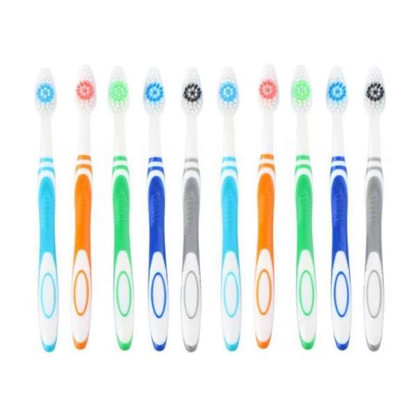 10er Pack Zahnbürsten Mittel Zahnpflege Zähne Reise Hand Zahnbürste bunt im Set