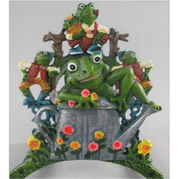 Garten Wand Schlauchhalter Frosch-Familie Guss Eisen Metall Gartenschlauch Halter