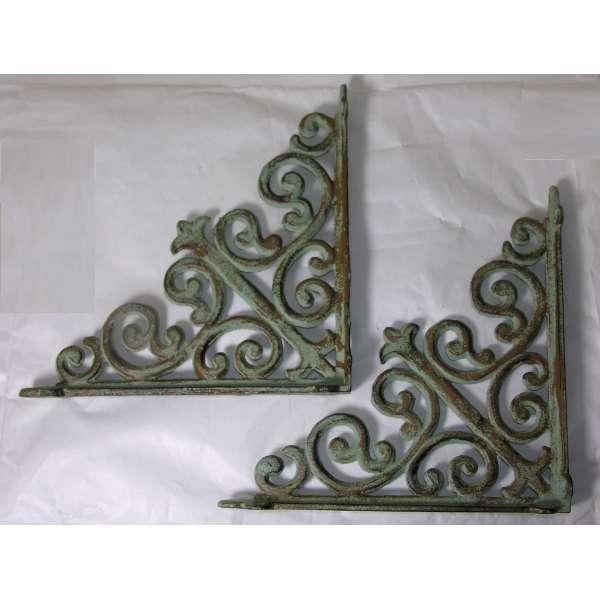 2 Regalträger Ornamente grün Eisen Jugendstil Regal Winkel Halter Regalstützen