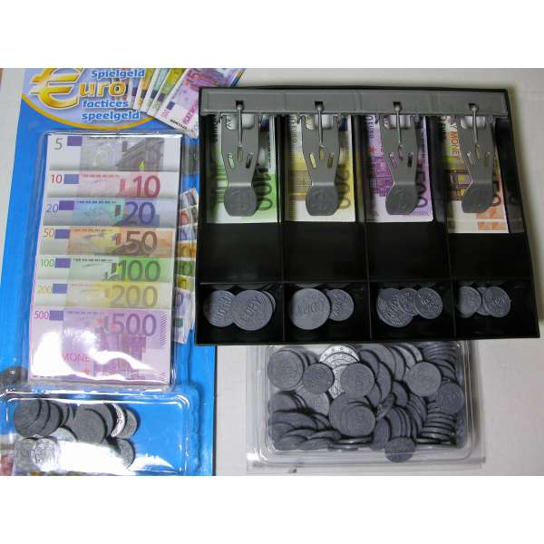Kassenschublade Spielgeld Euro 215 Teile Geld Münzen und Scheine Kasse für Kaufladen