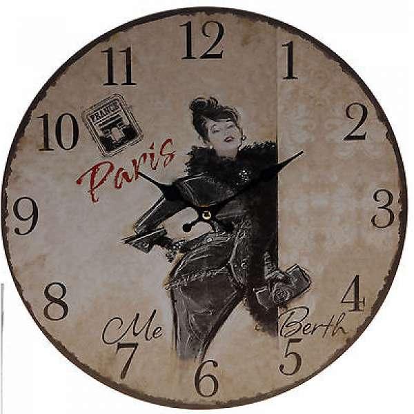 Nostalgische Wanduhr LADY 33cm Shabby Chic Antik-Stil PARIS ME BERTH Küchenuhr