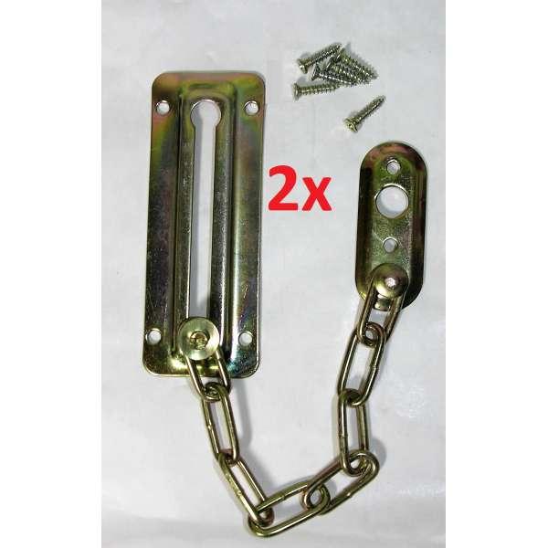 2x Sicherheitskette Tür Fenster Türsicherungskette Vorlegekette Riegel