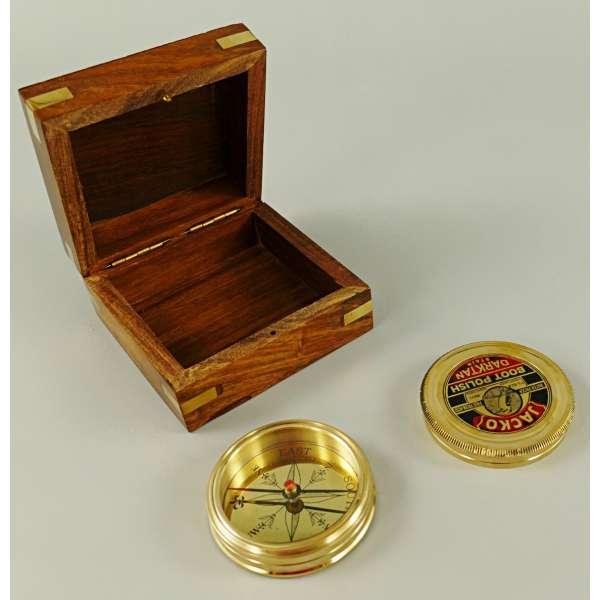 Kompass Messing mit Holz Box wasserfest Navigation Schiffskompass Antik Deko