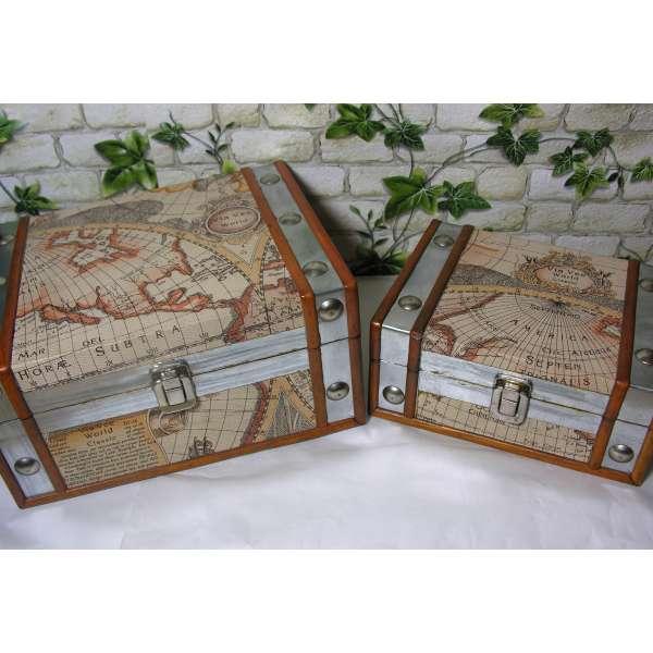 Aufbewahrungskiste Atlas Weltkarte Box Aufbewahrung Deko Truhe Holz Kunstleder Antik