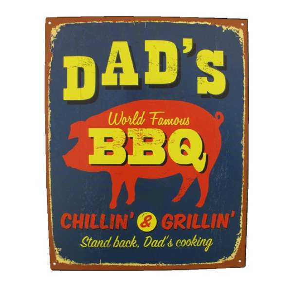 Blechschild Dad's BBQ Grill Küche Tür Wand Schild Metall Retro Nostalgie Blech