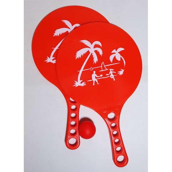 Beach Ballspiel 2 Schläger + 1 Ball im Set Beachball Strand Wasser Garten Spiel rot
