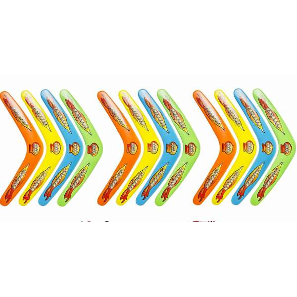 12x Boomerang Bumerang 30cm Kinder Geburtstag Spielzeug Mitgebsel Tombola bunt
