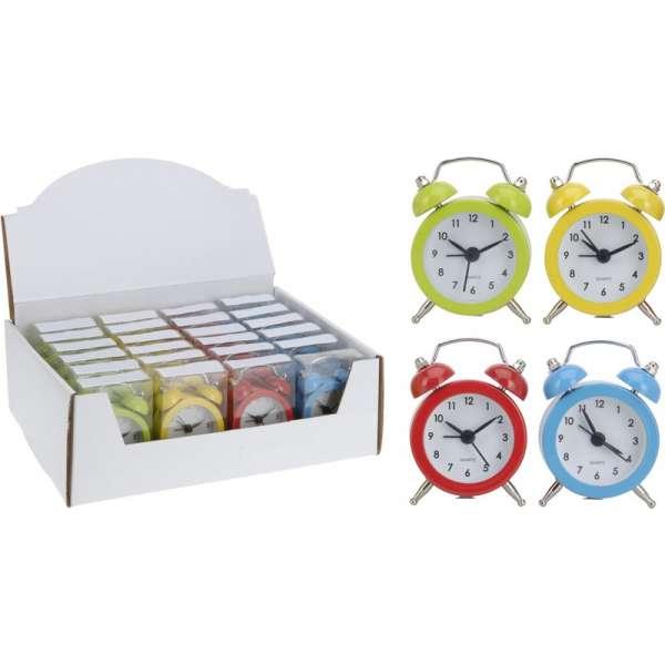 Mini Wecker Reisewecker in 4 Farben rot gelb grün blau Quartz-Uhr Doppelglocken