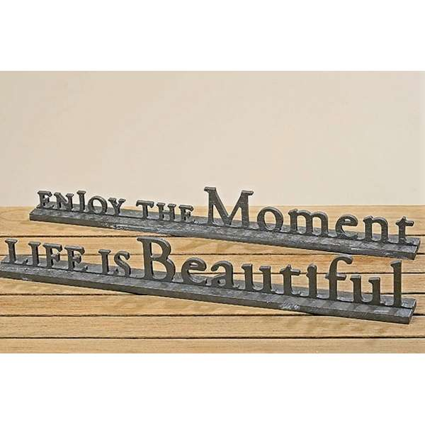 2er Set Schriftzug 50cm Enjoy the Moment Live is Beautiful Deko Aufsteller Holz grau