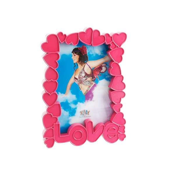 Bilderrahmen Herzen Love Liebe 10x15cm Standrahmen Foto Rahmen Pink Kunststoff