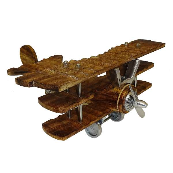 Modell Propeller Flugzeug 2 Blatt Dreidecker Standmodell Dekoration Holz braun