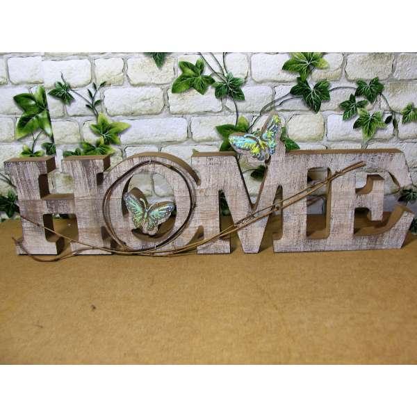 Moderner Schriftzug HOME 45x15cm Holz mit Schmetterlingen Buchstaben Aufsteller Deko