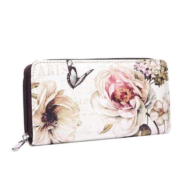 Damen Geldbörse XL Vintage Blumen Portemonee Geldbeutel Langbörse Brieftasche