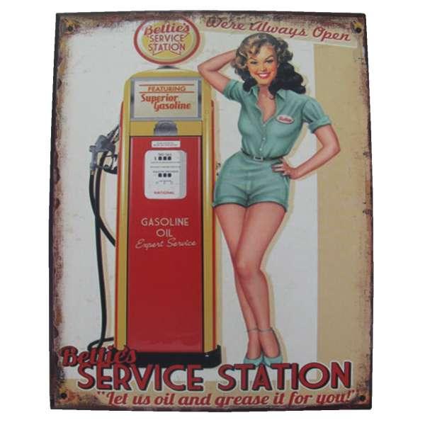 Blechschild Betties Service Station Tür Wand Schild Metall Retro Nostalgie Blech