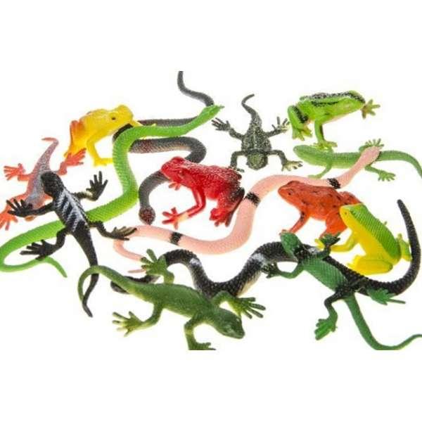 15x Reptilien Spielfiguren Set Tier Sammlung Schlangen Frösche Gecko Kunststoff