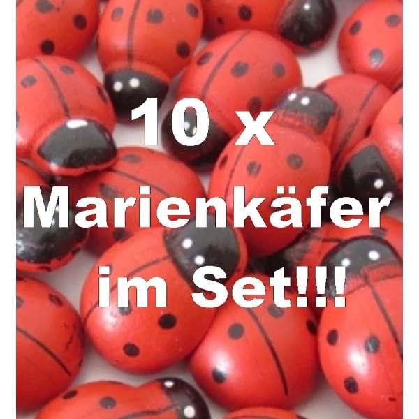 10x Marienkäfer Glücksbringer Deko Streuteile Aufkleber Holz selbstklebend