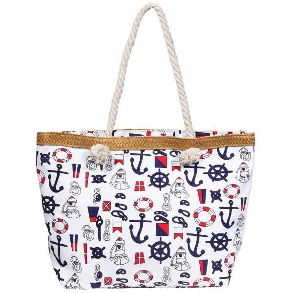 Strandtasche Badetasche Maritim Anker Knoten Umhängetasche Shopper Shopping Tasche