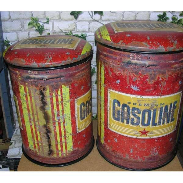 Retro Sitztonne 2er Set Gasoline Sitzhocker Aufbewahrungsbox Sitztruhe antik Stil Shabby Chic