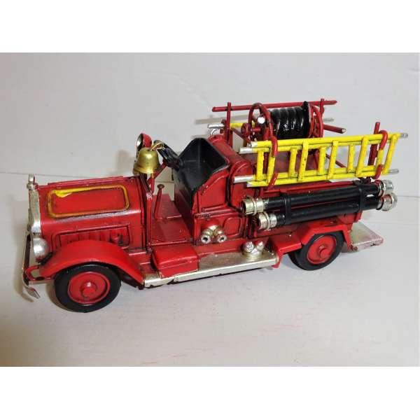 Modell Auto Feuerwehr Blech 16cm Oldtimer Feuerwehrauto Deko Fire Dept Retro Stil