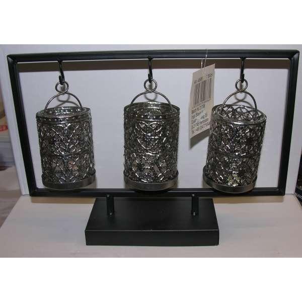 Pajoma romantisch verzierter Kerzenhalter aus Metall und Glas Teelichthalter