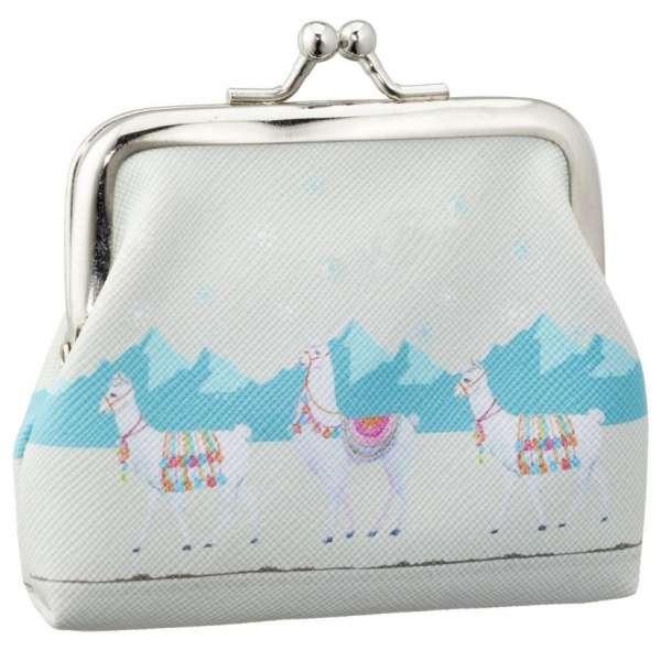Mini Lama Geldbörse mit Clip Kinder Portmonee Portemonnaie Geldbeutel Clutch blau