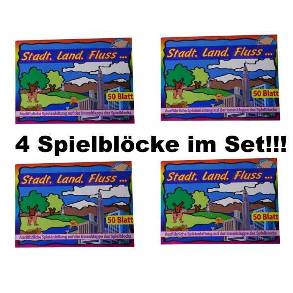 4x Stadt Land Fluss Spielblock Block 50 Blatt Gesellschaftspiel Kinder Reise Spiel