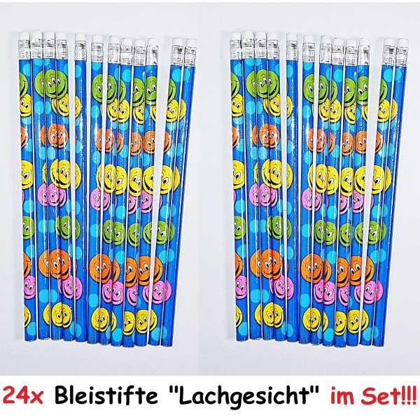 24x Bleistifte Lachgesicht Smiley Stift Schreibstift mit Radierer Schule Zeichnen
